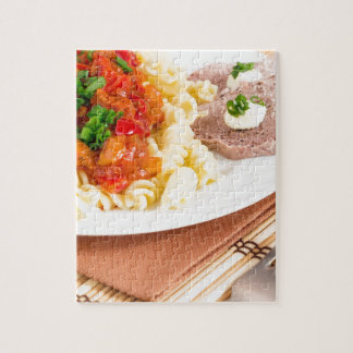 Lunch dish of Italian pasta, vegetable sauce Jigsaw Puzzle