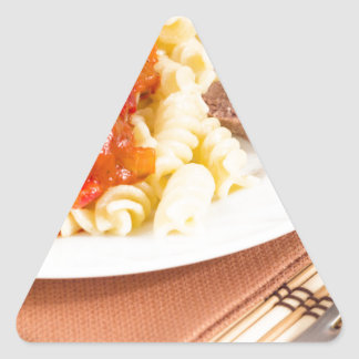 Lunch dish of Italian pasta, vegetable sauce Triangle Sticker