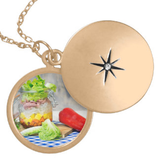 Lunch in a glass gold plated necklace