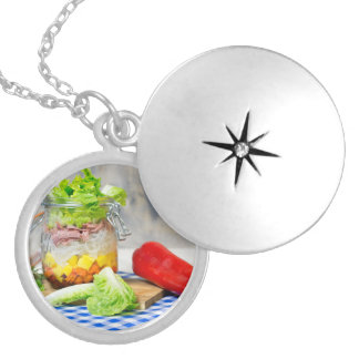 Lunch in a glass silver plated necklace