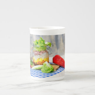 Lunch in a glass tea cup