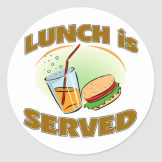 Lunch Is Served Classic Round Sticker
