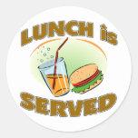 Lunch Is Served Round Sticker