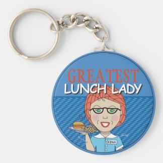 Lunch Lady Basic Round Button Keychain