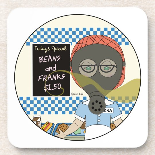 Lunch Lady - Gas Mask Beans and Franks Day Beverage Coaster