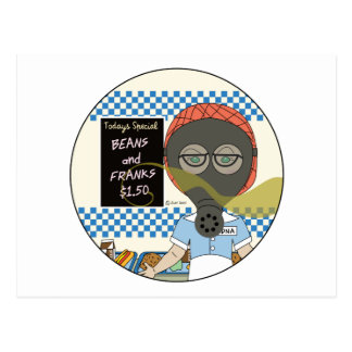 Lunch Lady - Gas Mask Beans and Franks Day Postcard