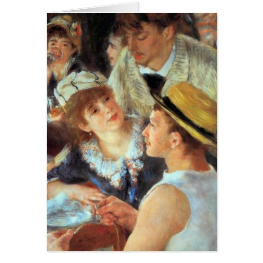 Lunch on the boat party, detail by Pierre Renoir Card