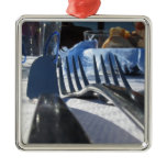 Lunch table setting outdoors in white-blue colors metal ornament