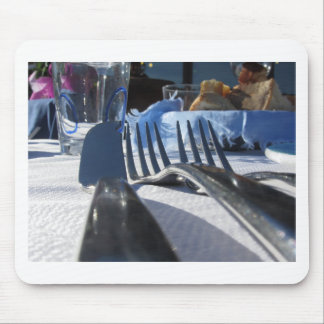 Lunch table setting outdoors in white-blue colors mouse pad