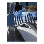 Lunch table setting outdoors in white-blue colors postcard