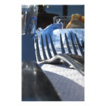 Lunch table setting outdoors in white-blue colors stationery