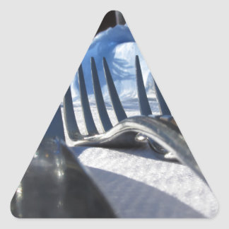 Lunch table setting outdoors in white-blue colors triangle sticker