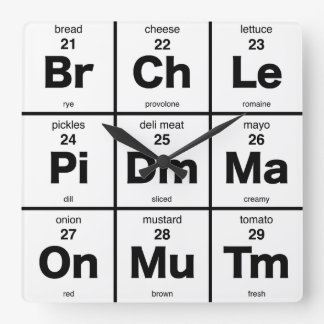 Lunch Time Periodic Table Square Wall Clock