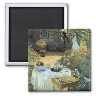 Luncheon by Claude Monet, Vintage Impressionism 2 Inch Square Magnet