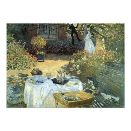 "Luncheon by Claude Monet, Vintage Impressionism 5"" X 7"" Invitation Card"