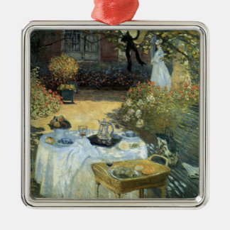 Luncheon by Claude Monet, Vintage Impressionism Square Metal Christmas Ornament
