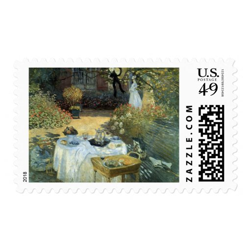 Luncheon by Claude Monet, Vintage Impressionism Postage Stamps
