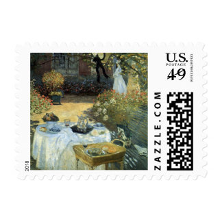 Luncheon by Claude Monet, Vintage Impressionism Stamp