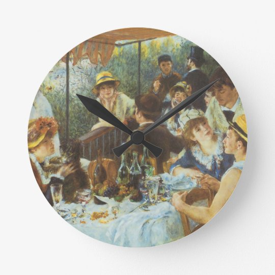Luncheon of the Boating Party by Pierre Renoir Round Clock