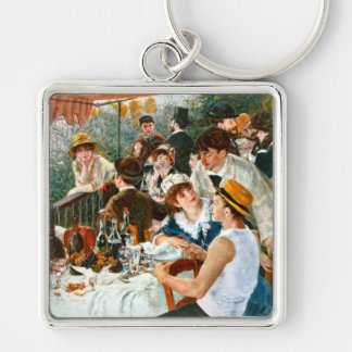 Luncheon of the Boating Party, Renoir Silver-Colored Square Keychain