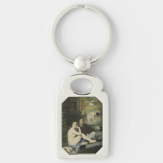 Luncheon on the Grass by Edouard Manet Silver-Colored Rectangular Metal Keychain