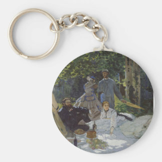 Luncheon on the Grass, Central panel (1865) Basic Round Button Keychain