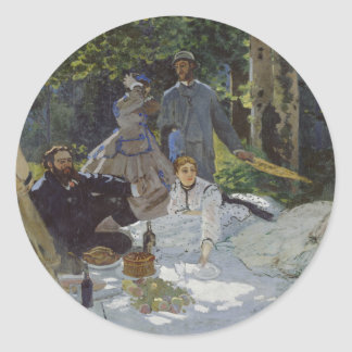 Luncheon on the Grass, Central panel, Claude Monet Classic Round Sticker