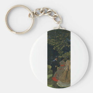 Luncheon on the Grass, Left Panel (1865) Basic Round Button Keychain