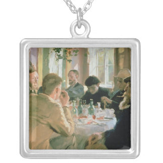 Lunchtime, 1883 silver plated necklace