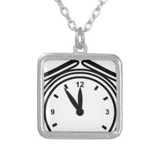 Lunchtime Alarm Clock Icon Square Pendant Necklace