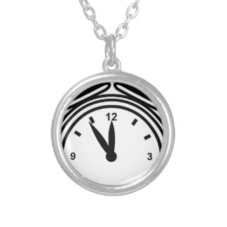 Lunchtime Alarm Clock Icon Round Pendant Necklace