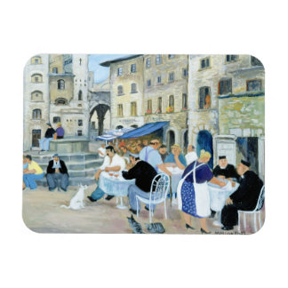 Lunchtime in a Market Square Tuscany Rectangular Photo Magnet