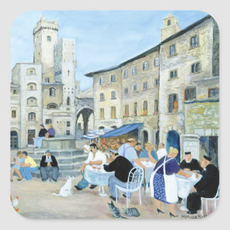Lunchtime in a Market Square Tuscany Square Sticker