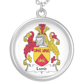 Lund Family Crest Round Pendant Necklace