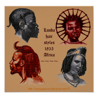 Lunda Hairstyle 1835-southern Congo Africa Poster
