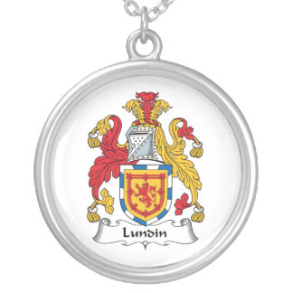 Lundin Family Crest Round Pendant Necklace