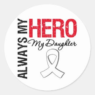 Lung & Bone Cancer - Always My Hero My Daughter Classic Round Sticker