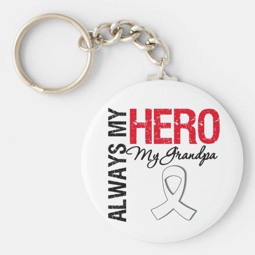 Lung & Bone Cancer - Always My Hero My Grandpa Keychains