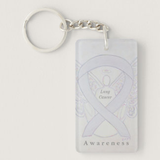 Lung Cancer Angel Awareness Ribbon Keychain