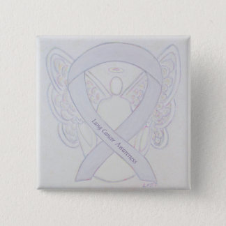 Lung Cancer Awareness Angel Pearl Ribbon Button