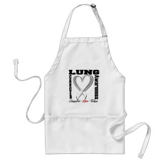 Lung Cancer Awareness Brushed Heart Ribbon Apron