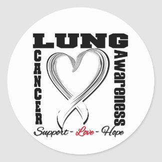 Lung Cancer Awareness Brushed Heart Ribbon Sticker
