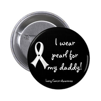 Lung Cancer Awareness Button - Pearl Ribbon