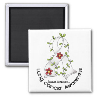 Lung Cancer Awareness FLOWER RIBBON 1 2 Inch Square Magnet
