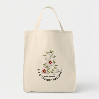 Lung Cancer Awareness FLOWER RIBBON 1 Grocery Tote Bag