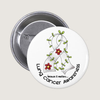 Lung Cancer Awareness FLOWER RIBBON 1 Pinback Button
