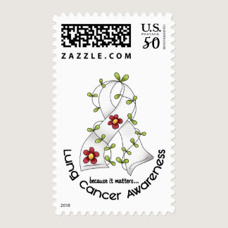 Lung Cancer Awareness FLOWER RIBBON 1 Postage