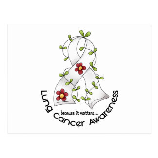 Lung Cancer Awareness FLOWER RIBBON 1 Postcard