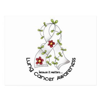 Lung Cancer Awareness FLOWER RIBBON 1 Postcard