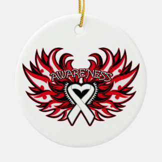 Lung Cancer Awareness Heart Wings Ceramic Ornament